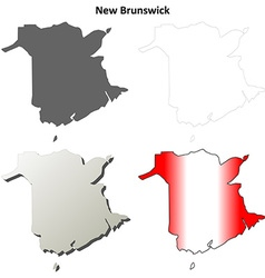 New brunswick blank outline map set vector