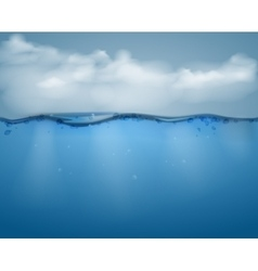 Underwater part and clouds vector