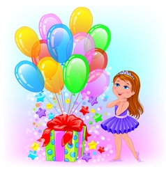 Birthday cheerful girl with gift and lot balls vector
