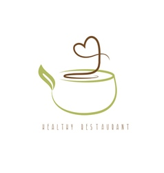 healthy restaurant concept with heart and pot vector image