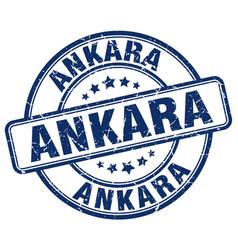Ankara blue grunge round vintage rubber stamp vector
