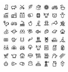 black agriculture and farming icons set vector image