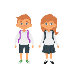 boy and girl in school uniform vector image vector image