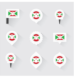 Burundi flag and pins for infographic and map vector