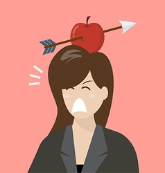 Business woman with apple and arrow on her head vector image vector image