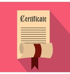 Certificate icon in flat style vector image