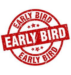 Early bird round red grunge stamp vector