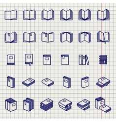 Education icons of books on notebook page vector