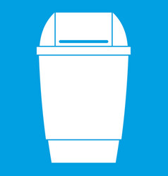 Flip lid bin icon white vector