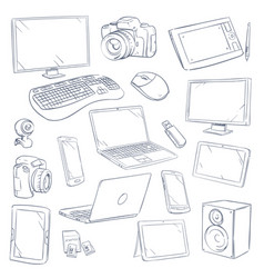 hand drawn sketch computer technology gadgets vector image vector image