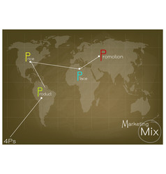 Marketing mix strategy or 4ps model on world map vector