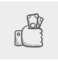 Money in hand sketch icon vector