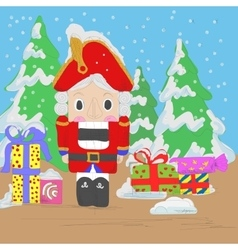 Nutcracker with gifts vector
