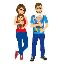 parents holding holding their children vector image vector image
