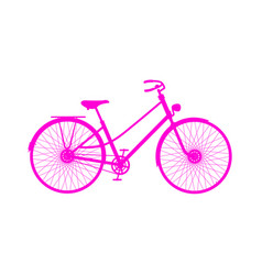 pink silhouette of retro bicycle vector image vector image