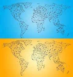 Point line world map vector