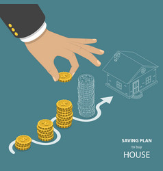 Saving plan to buy house flat isometric concept vector