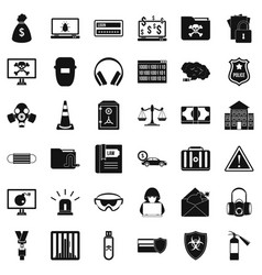 Spam virus icons set simple style vector