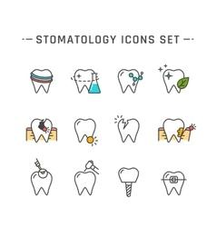Stomatology icons set vector image