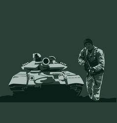 tank and soldier with arms vector image