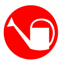 watering sign white icon in red circle on vector image