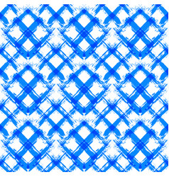 white blue gingham pattern unusual brush strokes vector image vector image