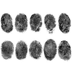 10 fingerprints vector image vector image
