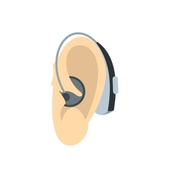 Ear with hearing aid icon flat style vector