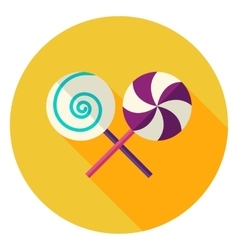Lollipop Sweets Circle Icon vector image