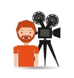 cartoon man icon camera cinema graphic vector image