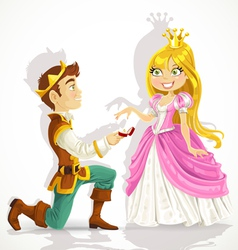 Prince was on his knees asking princess marriage vector