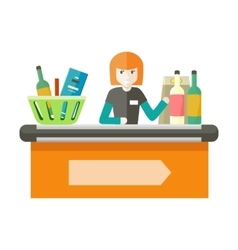Cashier Behind the Store Counter vector image