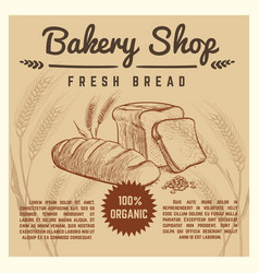 Bakery shop retro poster with hand drawn vector