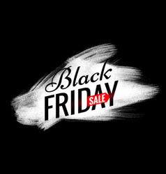Black friday sale design with white paint brush vector
