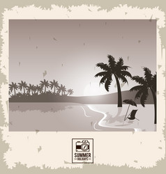 Sepia color poster seaside with summer holydays vector