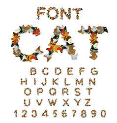 Cat font catlike abc letters of cats pet alphabet vector