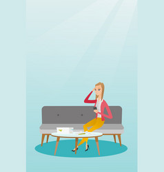Unhappy caucasian woman accounting home bills vector