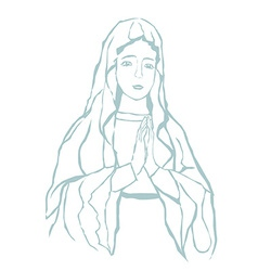 Blessed virgin mary portrait vector