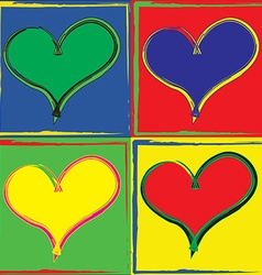 Pop art styled set of hearts vector