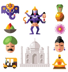 Indian icon set vector