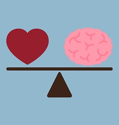 Red love heart and brain on weight scale vector