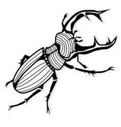 Male stag beetle lucanus cervus tattoo or for vector