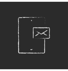 Touch screen phone with message icon drawn in vector