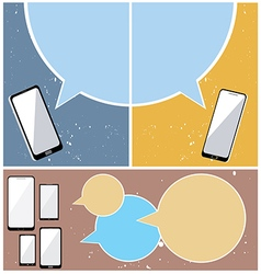 Mobile phones with bubble speech vector