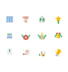 Christmas events symbols flat color icons vector
