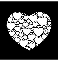 White hearts on black background vector