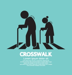 The elderly on the crosswalk symbol vector