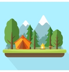 Camping with tend bonfire and nature landscape vector