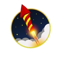 Firework rocket flying in sky vector
