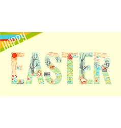 Easter inscription linear style 2 vector